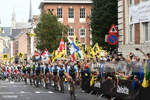 Tim Declercq of Belgium with teammates compete while fans cheer during the 94th UCI Road World Championships 2021 - Men Elite Road Race a 268,3km...