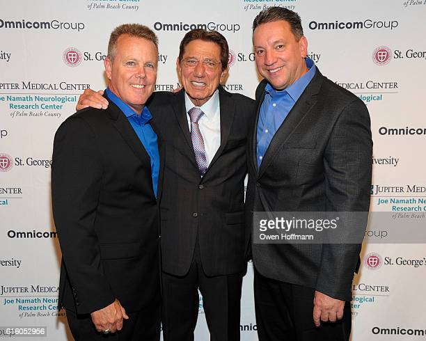 Tim Devine Joe Namath and Ray Monte attend An Evening Honoring Joe Namath at The Plaza Hotel on October 20 2016 in New York City