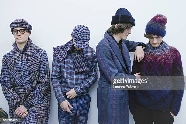 Tim Dibble Leigh Kimmins and models are seen backstage ahead of the Missoni show during Milan Men's Fashion Week Fall/Winter 2017/18 on January 15...