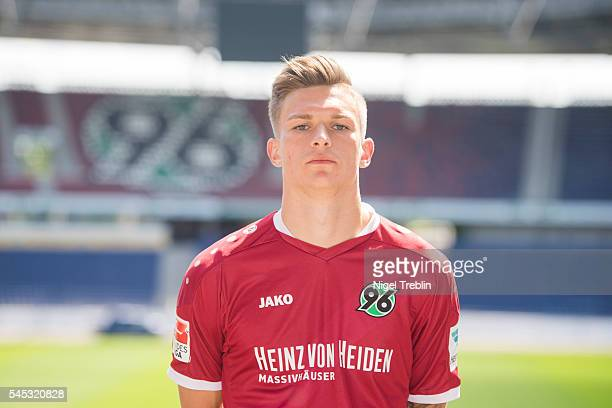 Tim Dierssen poses during the team presentation of Hannover 96 on July 7 2016 in Hanover Germany