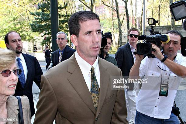 Tim Donaghy, a former referee for the National Basketball Association , center, arrives at Federal District Court in the Brooklyn borough of New...