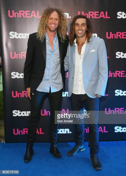 Tim Dormer and Ash Toweel attend the UnREAL Australian Premiere Party on February 23 2018 in Sydney Australia