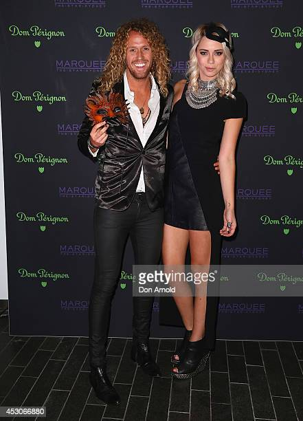 Tim Dormer and Tully Smyth attend the Dom Perignon Masquerade Ball At Marquee Nightclub on August 2 2014 in Sydney Australia