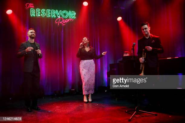 Tim Draxl Catherine Alcorn and James Sarno perform during recording of live show on June 05 2020 in Sydney Australia The Reservoir Room is livestream...