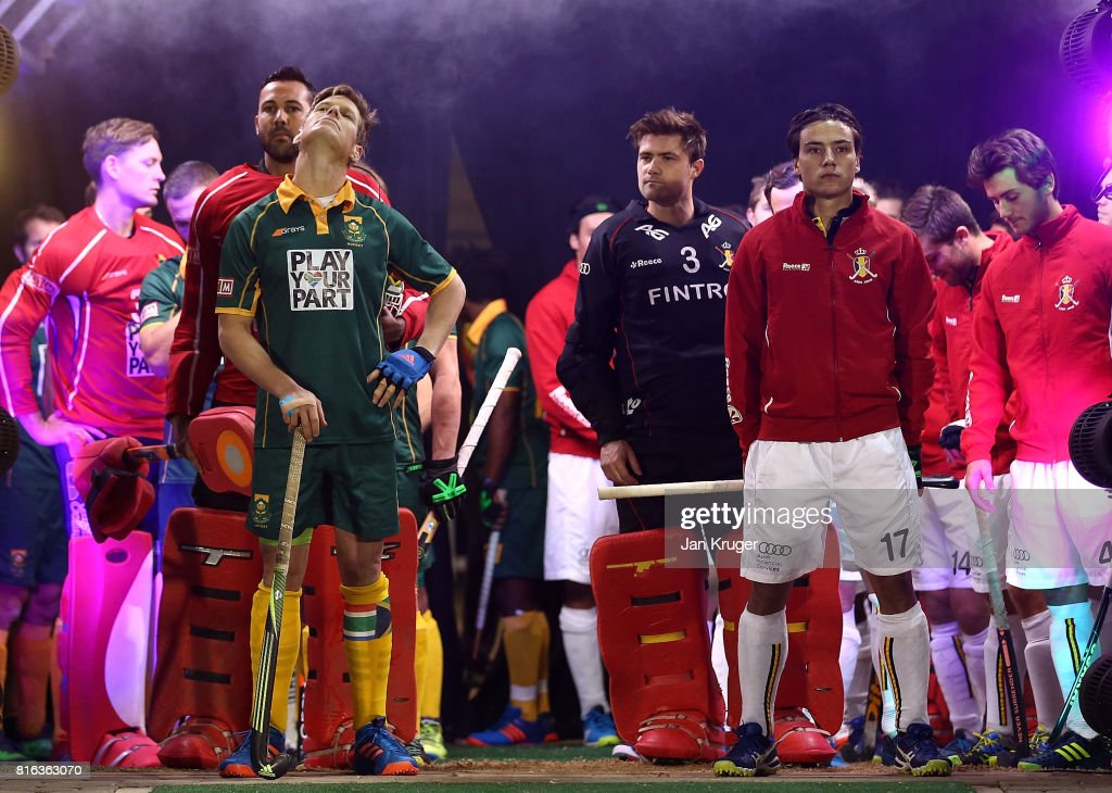 Tim Drummond of South Africa and Thomas Briels of Belgium line up in the tunnel with their teams during day 5 of the FIH Hockey World League Men's Semi Finals Pool B match between South Africa and Belgium at Wits University on July 17, 2017 in Johannesburg, South Africa.