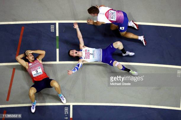 Tim Duckworth of Great Britain celebrates wining silver in the men's heptathlon on day three of the 2019 European Athletics Indoor Championships at...