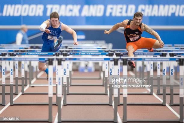Tim Duckworth of the University of Kentucky and Tyler Adams of Sam Houston State University compete in the Heptathlon 60 Meter Hurdles during the...