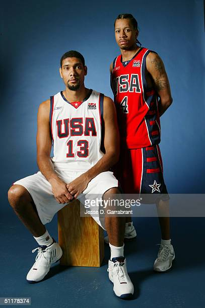 Tim Duncan and Allen Iverson of Team USA poses for a portrait at the University of Florida Arena on July 26 2004 in Jacksonville Florida NOTE TO USER...