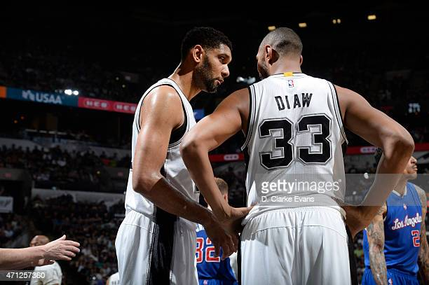 Tim Duncan and Boris Diaw of the San Antonio Spurs during Game Four of the Western Conference Quarterfinals against the Los Angeles Clippers during...
