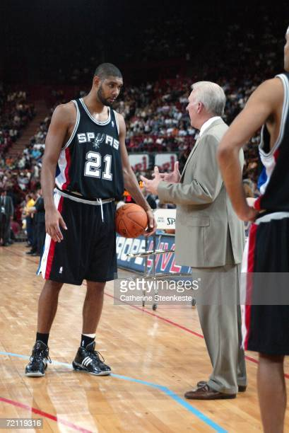 Tim Duncan and Gregg Popovich of the San Antonio Spurs talking during the Maccabi Elite Tel Aviv preseason game of the NBA Europe Live Tour presented...