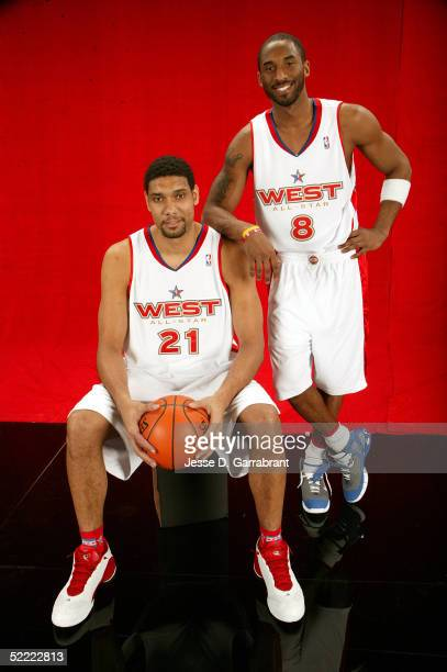 Tim Duncan and Kobe Bryant of the Western Conference AllStars pose for a portrait prior to the 2005 NBA AllStar Game at The Pepsi Center on February...