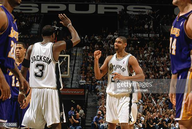 Tim Duncan and Stephen Jackson of the San Antonio Spurs celebrate in Game Five of the Western Conference Semifinals against the Los Angeles Lakers...