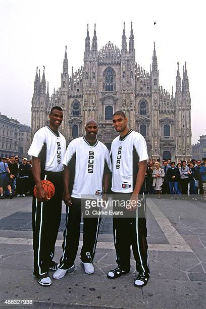 Tim Duncan David Robinson and Jerome Kersey of the San Antonio Spurs pose for a photo during the 1999 McDonald's Championships on October 13 1999 at...
