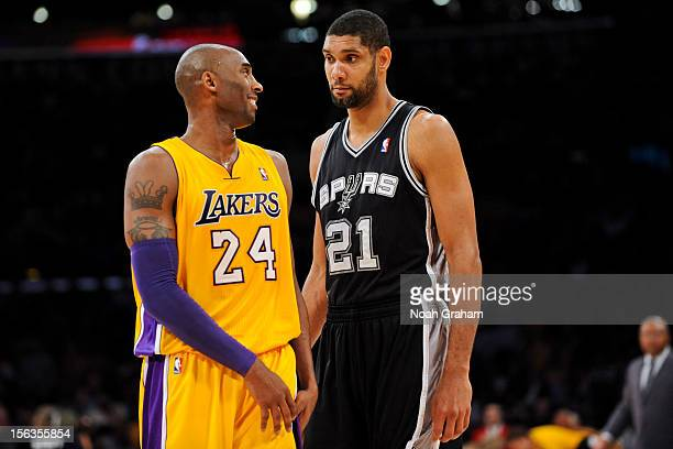 Tim Duncan of the San Antonio Spurs and Kobe Bryant of the Los Angeles Lakers share a laugh while playing on November 13 2012 at the Staples Center...