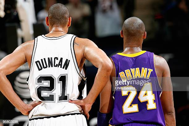 Tim Duncan of the San Antonio Spurs and Kobe Bryant of the Los Angeles Lakers stand together during the game on January 12 2010 at the ATT Center in...