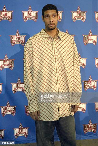 Tim Duncan of the San Antonio Spurs arrives at the 2006 NBA AllStar Game February 19 2006 at the Toyota Center in Houston Texas NOTE TO USER User...