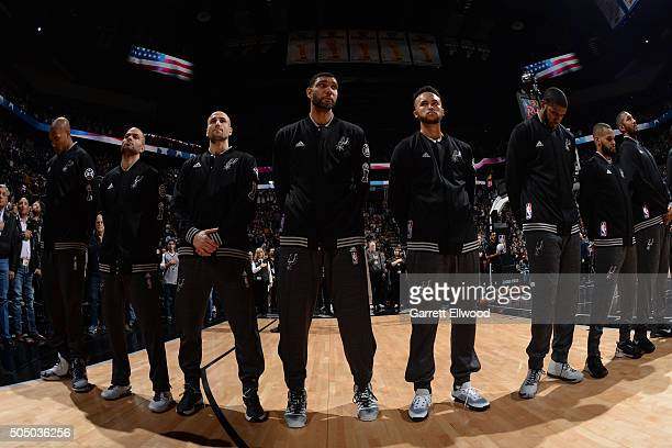 Tim Duncan of the San Antonio Spurs before the game against the Cleveland Cavaliers on January 14 2016 at the ATT Center in San Antonio Texas NOTE TO...
