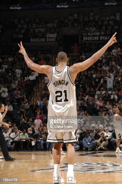 Tim Duncan of the San Antonio Spurs celebrates while playing the New Jersey Nets during the game at the ATT Center on March 10 2007 in San Antonio...