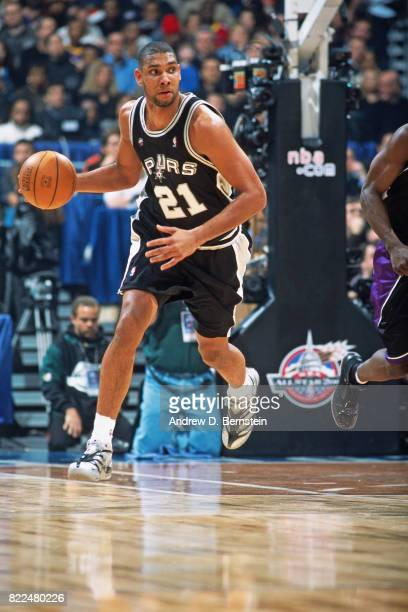 Tim Duncan of the San Antonio Spurs dribbles during the 2001 AllStar Game on February 1 2001 at the MCI Arena in Washington DC NOTE TO USER User...