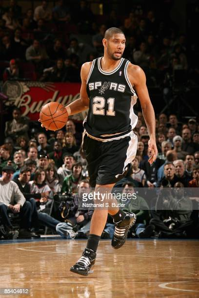 Tim Duncan of the San Antonio Spurs drives the ball up court during the game against the New York Knicks on February 17 2009 at Madison Square Garden...