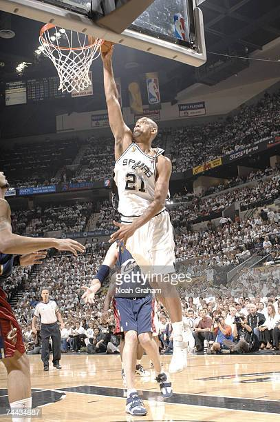 Tim Duncan of the San Antonio Spurs drives to the basket against the Cleveland Cavaliers during Game 1 of the 2007 NBA Finals on June 7 2007 at the...