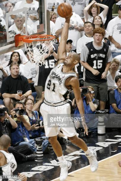 Tim Duncan of the San Antonio Spurs drives to the basket against the Cleveland Cavaliers during Game One of the 2007 NBA Finals at the AT&T Center...