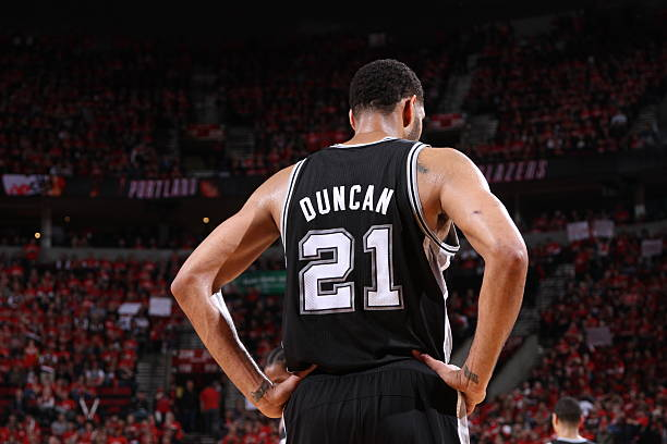 Tim Duncan Of The San Antonio Spurs Vs. Trail Blazers Wall Art