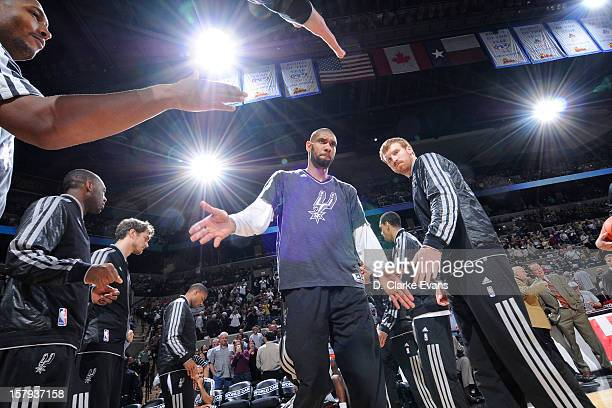 Tim Duncan of the San Antonio Spurs gets introduced before the game against the Houston Rockets on December 7 2012 at the ATT Center in San Antonio...