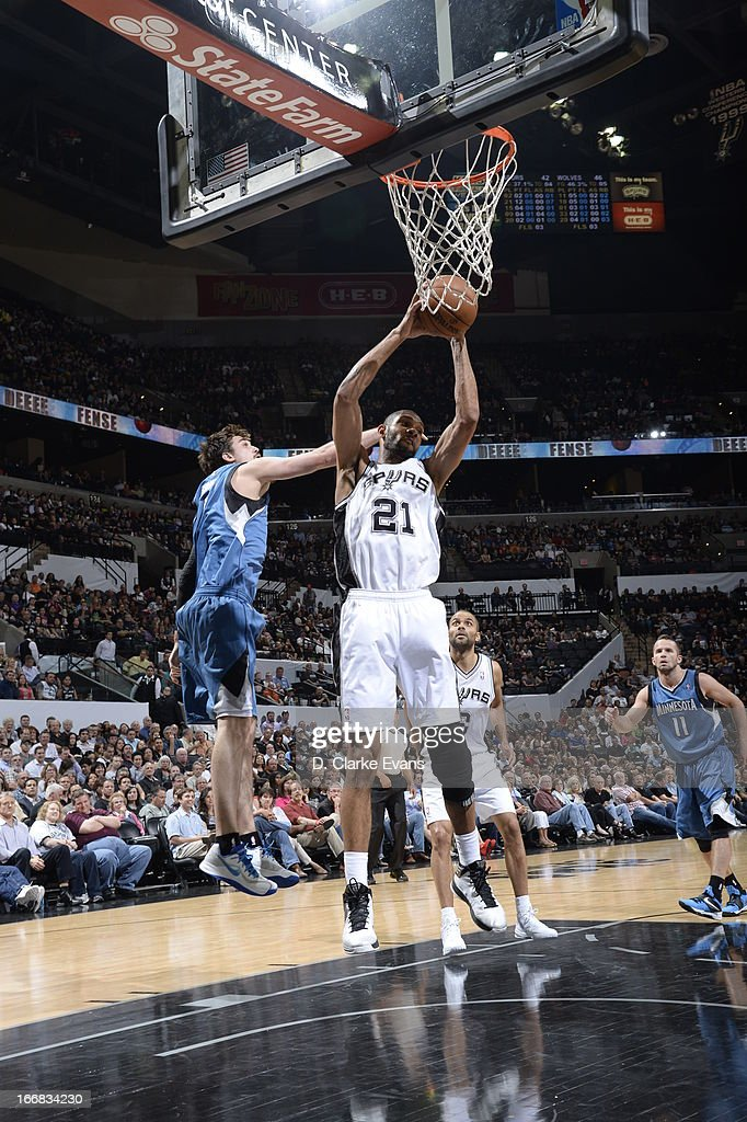Tim Duncan #21 of the San Antonio Spurs grabs the rebound against the Minnesota Timberwolves on April 17, 2013 at the AT&T Center in San Antonio, Texas.
