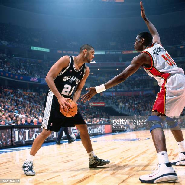 Tim Duncan of the San Antonio Spurs handles the ball during the 2000 NBA AllStar Game played at The Arena in Oakland on February 13 2000 in Oakland...