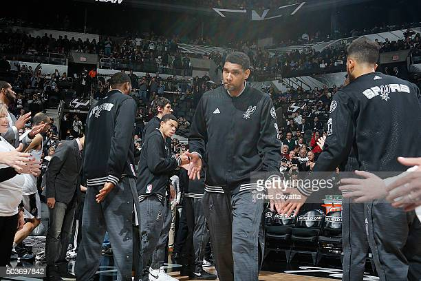 Tim Duncan of the San Antonio Spurs is introduced before the game against the Utah Jazz on January 6 2016 at the ATT Center in San Antonio Texas NOTE...