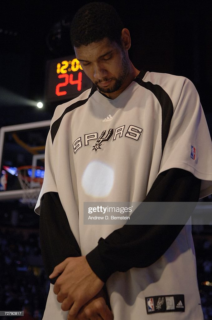 Tim Duncan of the San Antonio Spurs lines up during the singing of the National Anthem before the game against the Los Angeles Lakers at Staples Center December 10, 2006 in Los Angeles, California.