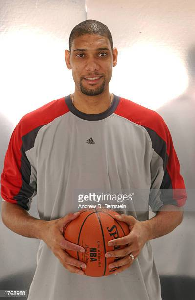 Tim Duncan of the San Antonio Spurs poses for a media day portrait during the 2003 NBA AllStar weekend at the Hyatt Regency Hotel on February 7 2003...
