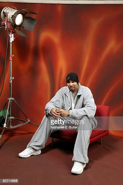 Tim Duncan of the San Antonio Spurs poses for a portrait during the 2005 NBA All-Star Media Availabilty at the Westin Hotel February 18, 2005 in...