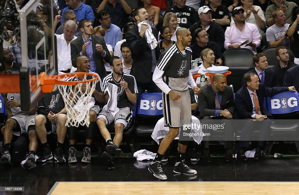 Tim Duncan #21 of the San Antonio Spurs reacts against the Memphis Grizzlies during Game One of the Western Conference Finals of the 2013 NBA Playoffs at AT&T Center on May 19, 2013 in San Antonio, Texas.