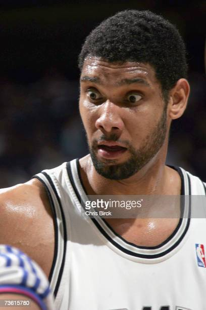 Tim Duncan of the San Antonio Spurs reacts to the referee call during the NBA game against the Orlando Magic at ATT Center on March 2 2007 in San...