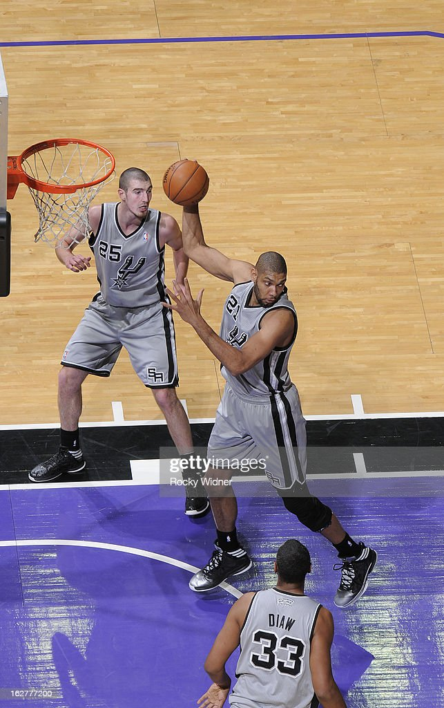 Tim Duncan #21 of the San Antonio Spurs rebounds against the Sacramento Kings on February 19, 2013 at Sleep Train Arena in Sacramento, California.