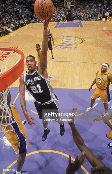 Tim Duncan of the San Antonio Spurs shoots a layup during the NBA game against the Los Angeles Lakers at Staples Center on October 29 2002 in Los...