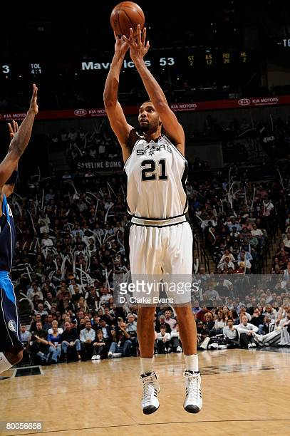 Tim Duncan of the San Antonio Spurs shoots against the Dallas Mavericks on February 28 2008 at the ATT Center in San Antonio Texas NOTE TO USER User...