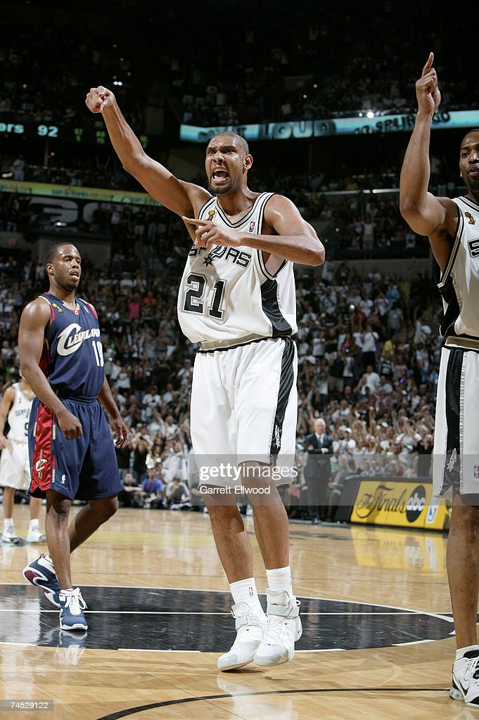 Tim Duncan #21 of the San Antonio Spurs shows emotion against the Cleveland Cavaliers during Game 2 of the 2007 NBA Finals on June 10, 2007 at the AT&T Center in San Antonio, Texas.
