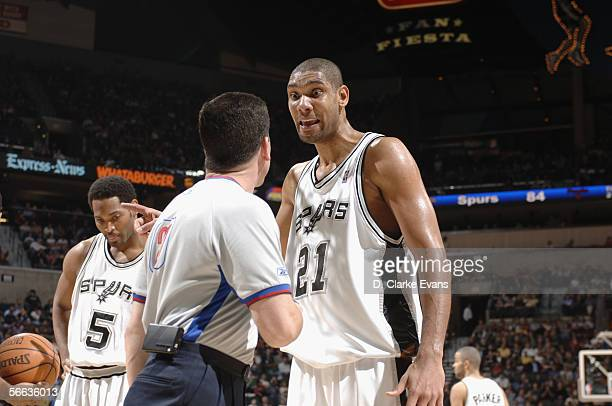 Tim Duncan of the San Antonio Spurs talks to referee Tim Donaghy during the game against the Indiana Pacers on December 27, 2005 at the SBC Center in...