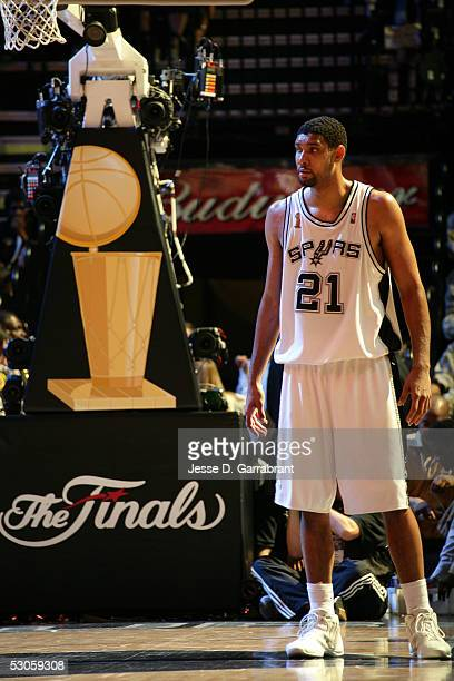 Tim Duncan of the San Antonio Spurs waits for play to resume against the Detroit Pistons in Game two of the 2005 NBA Finals on June 12 2005 at the...