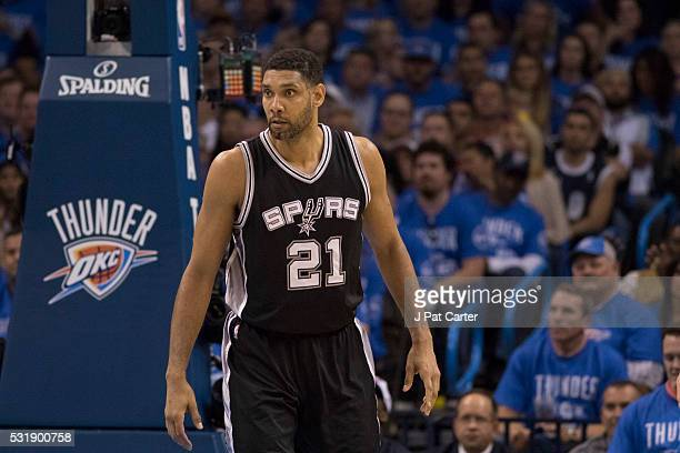 Tim Duncan of the San Antonio Spurs waits for the Oklahoma City Thunder to bring the ball down court during the second half of Game Six of the...
