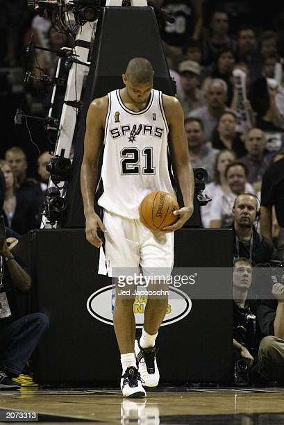 Tim Duncan of the San Antonio Spurs walks on the court dejected in Game two  of 5f22411b8