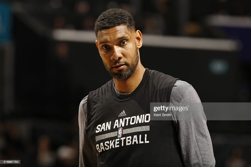 Tim Duncan #21 of the San Antonio Spurs warms up before the game against the Charlotte Hornets on March 21, 2016 at Time Warner Cable Arena in Charlotte, North Carolina.