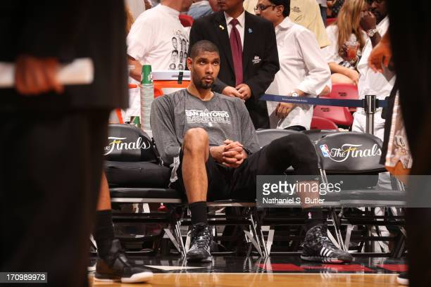 Tim Duncan of the San Antonio Spurs while playing against the Miami Heat in Game Seven of the 2013 NBA Finals on June 20 2013 at American Airlines...