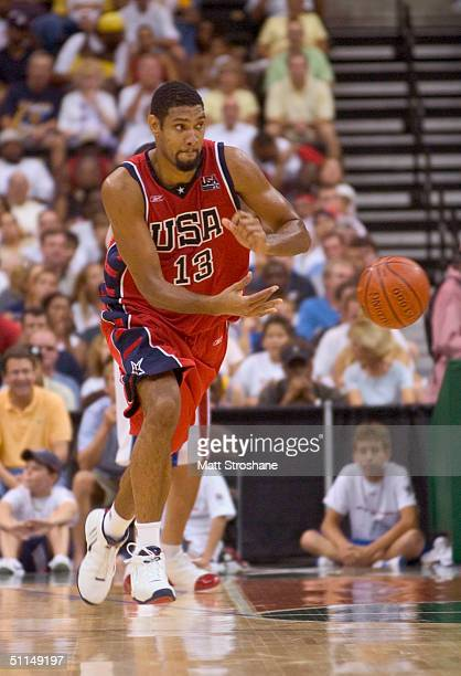 Tim Duncan of the USA Basketball Men's Senior National Team advances the ball during the exhibition game against the Puerto Rico Senior National Team...