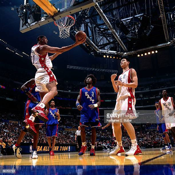 Tim Duncan of the Western Conference AllStars shoots against the Eastern Conference AllStars during the 2004 AllStar Game on February 15 2004 at...