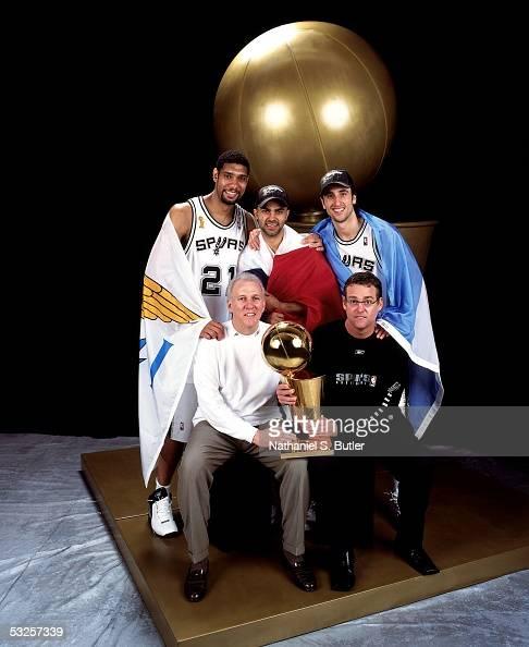 Tim Duncan, Tony Parker, Manu Ginobili, head coach Gregg ...