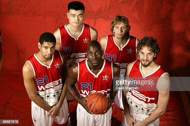 Tim Duncan Yao Ming Dirk Nowitzki Pau Gasol and Kevin Garnett of the Western Conference pose for a 2006 NBA AllStar Game Portrait February 19 2006 at...